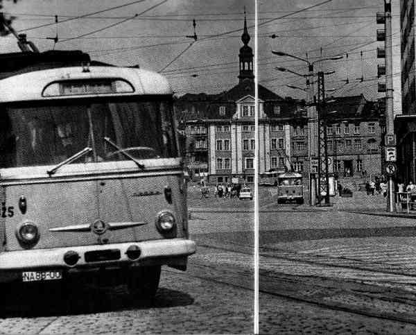 Gera trolleybus no. 325 and later Eberswalde trolleybus no. 31(I) of The Czech type ŠKODA 9 Tr14 in Gera (scrapped)