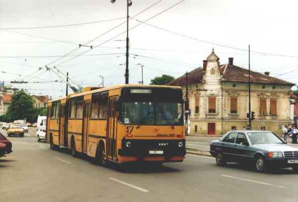 Former Eberswalde articulated trolleybus no. 06(III) of the Hungarian type Ikarus 280.93 in Timisoara/RO with the car no. 17 on 20 June 2002