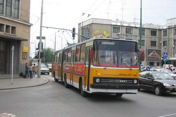 Former articulated trolleybus no. 009 of the Hungarian type Ikarus 280.93 in Timisoara/RO