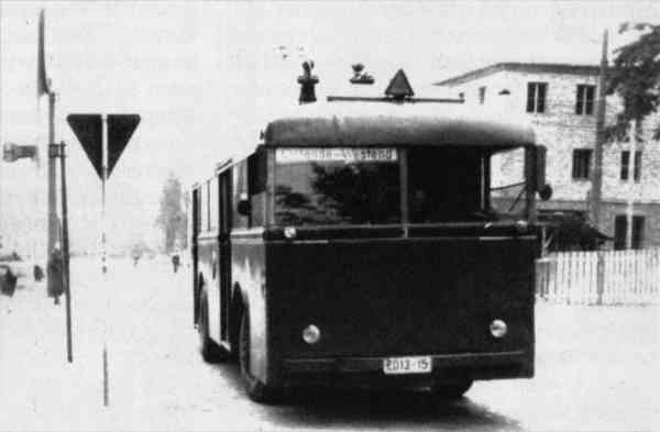 Trolleybus no. 03(II) of the German type KEO 1 (war unit bus standard size 1) in May 1954