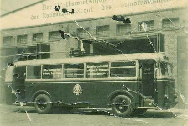Trolleybus no. 04(I) renamed in 01(II) of the German type MPE 1 at the old depot