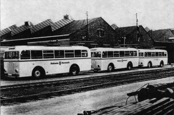 Trolleybuses no. 05(I), 04(I) und 03(I) of the German type MPE 1 at the terrain of the company Fahrzeugbau Schumann Ltd. Werdau/Germany