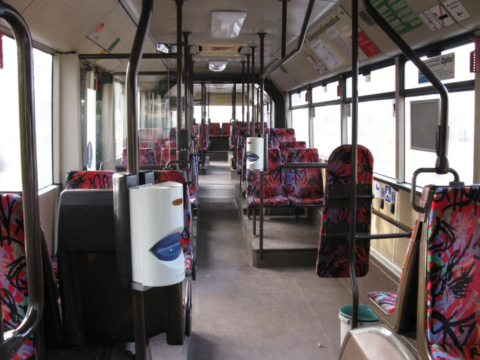 Articulated trolleybus no. 011 of the Austrian type ÖAF Gräf & Stift NGE 152 M17 - front interior view