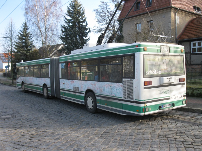 Articulated trolleybus no. 011 of the Austrian type ÖAF Gräf & Stift NGE 152 M17