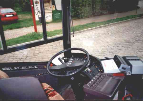 Driver's seat of the articulated trolleybus of the Austrian type ÖAF Gräf & Stift NGE 152 M17