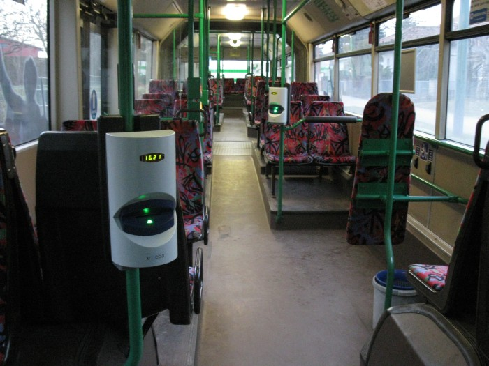 Articulated trolleybus no. 017 of the Austrian type ÖAF Gräf & Stift NGE 152 M18 - front interior view