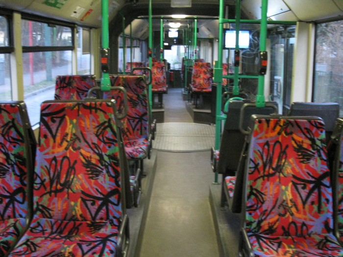 Articulated trolleybus no. 017 of the Austrian type ÖAF Gräf & Stift NGE 152 M18 - back interior view