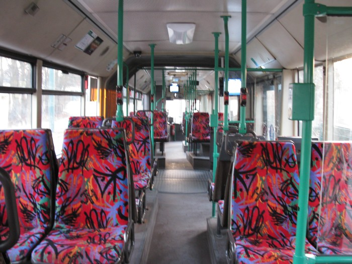 Articulated trolleybus no. 038 of the Austrian type ÖAF Gräf & Stift NGE 152 M18 - back interior view