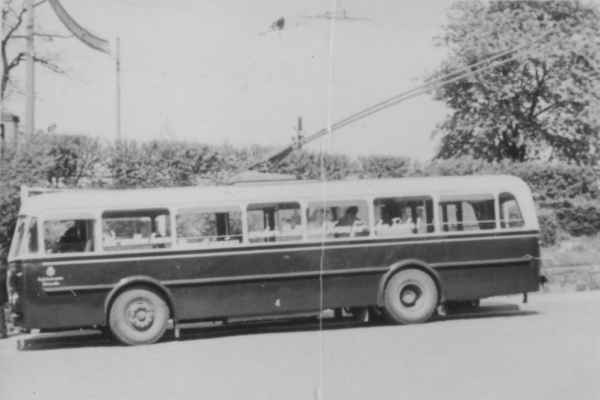 Trolleybus no. 04(IV) of the Czech type ŠKODA 8 Tr6