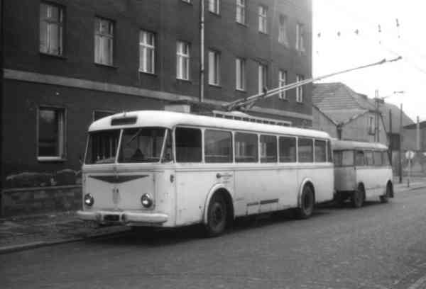 Trolleybus no. 11(II) of the Czech type ŠKODA 8 Tr6 with a trailer of the German type W 701 (scrapped)
