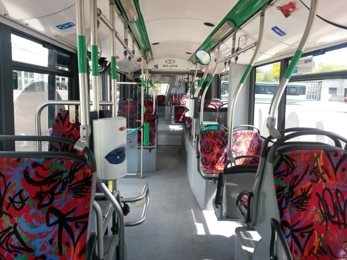 Articulated trolleybus no. 056 of the Polish type Solaris Trollino 18 AC - front interior view