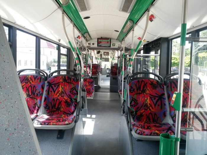 Articulated trolleybus no. 056 of the Polish type Solaris Trollino 18 AC - back interior view