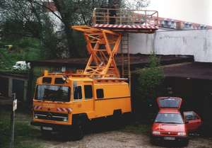 Overhead wiring maintenance vehicle DA 2 of the German type LPKO1113 B on a Daimler Benz chassis